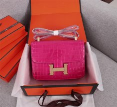 Hermes Constance 23cm Croco Leather Rose