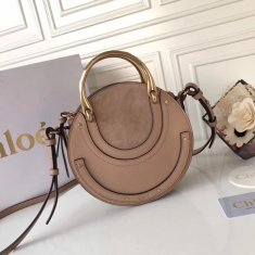 Chloe Small Pixie Leather and Suede Bag Nude