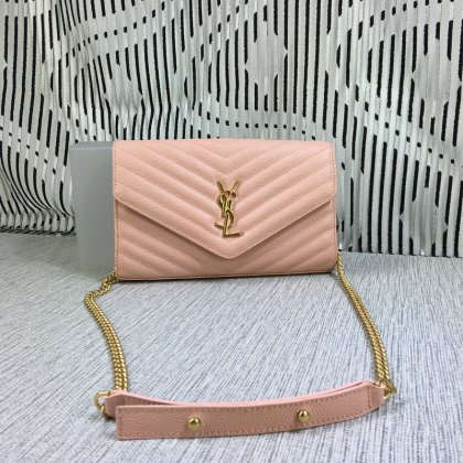 YSL Envelope Chain Bag Caviar Leather Pink 23cm
