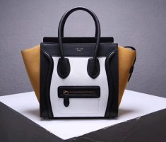 Celine Large Luggage Tote Bag 30cm Black White Yellow