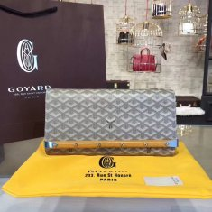 Goyard Monte Carlo Bois Clutch Light Grey