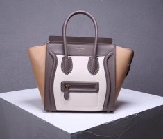 Celine Large Luggage Tote Bag 30cm Grey White Apricot