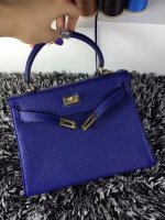 Hermes Kelly 25cm Togo Leather Blue Gold