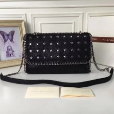 Stella McCartney Falabella Shaggy Deer Star Studded Black Silver