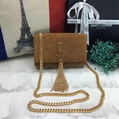 YSL Small Tassel Chain Bag 17cm Suede Leather Camel