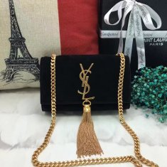 YSL Small Tassel Chain Bag 17cm Suede Leather Black