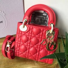 Lady Dior Lambskin 17cm Red Gold