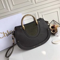 Chloe Large Pixie Leather and Suede Bag Green