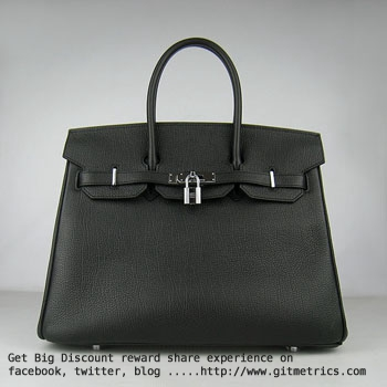 Hermes Birkin 35cm cattle skin vein Handbags black silver
