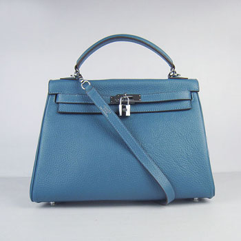 Hermes Kelly 32cm Togo Leather handbag blue/silver